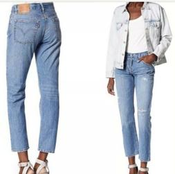Levi's 501's High Waisted Cropped Denim Jeans In Stitche
