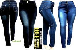 5IVE WOMENS PLUS SIZE Stretch BLACK/BLUE HI WAIST denim jean