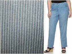 Gloria Vanderbilt Amanda Blue Ticking Stripe Jeans Womans 16
