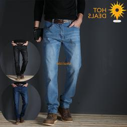 Autumn New Men`s Stretch Slim Straight Jeans Denim Pants Bus