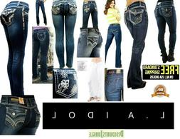 LA Idol Bootcut Jeans /Skinny /Straight Womens Blue Denim St