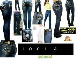 LA Idol Bootcut Jeans /Skinny /Straight Womens Blue Denim St