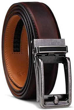 Belt for Men, Bulliant Men's Leather Ratchet Belt with Click