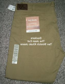Big Mens DOCKERS Stretch Fit THE JEAN CUT Khaki Tan Jeans NW