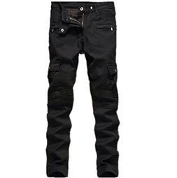 Men's Black Biker Jeans Slim Straight Stretch Skinny Fit Mot