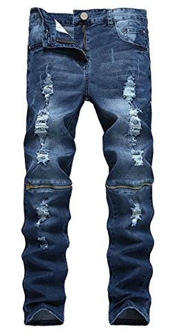 ZhouYCHEN Men's Biker Skinny Fit Ripped Distressed Destroyed