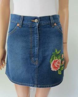 Gucci Blue Denim Floral Crochet Knit Applique Mini Skirt Siz