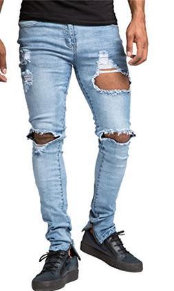 OKilr Pjik Men's Blue Ripped Destroyed Jeans Skinny Fit Dist