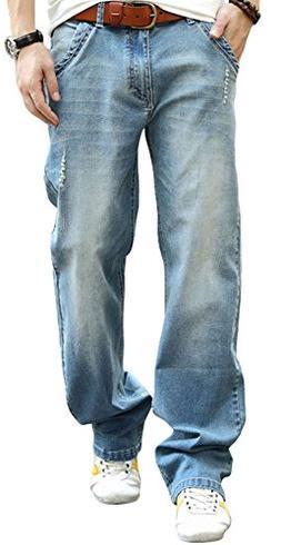 YOYEAH Men's Bootcut Jean Loose Relaxed Straight Leg Jeans N