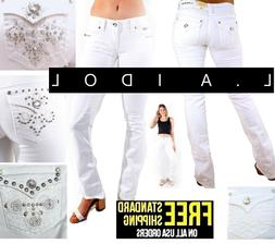 LA Idol Bootcut Jeans Womens WHITE Denim Jean Stretch Boot c