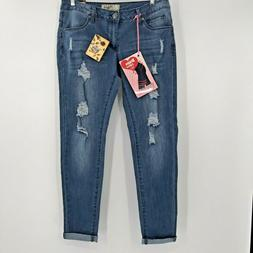 Hybrid & Company Bum Lifter Blue Destroyed Skinny Jeans Size