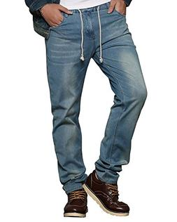 HEMIKS Men's Casual Comfy Elastic Waist Slim Fit Stretch Den