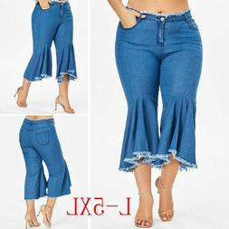 Casual Plus Size Women Denim Jeans Trousers Flare Wide Leg T