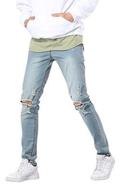 OKilr Pjik Men's Casual Stretch Skinny Vintage Distressed Ri