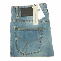 CK Calvin Klein jeans men's blue dirty wash denim straight f