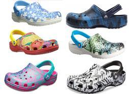 CROCS Classic Graphic Clogs Sandals Shoes Blue,Black,White,