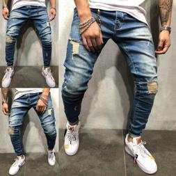 COOL Men Ripped Skinny Jeans Destroyed Frayed Slim Fit Long