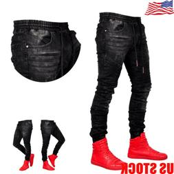 Cool Men Skinny Jeans Casual Jogging Joggers Long Pants Deni