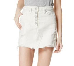 Free People   Cotton Ripped Denim Skirt   White