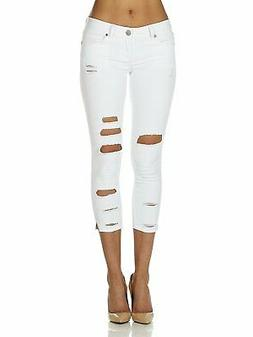 Cover Girl Denim Ripped Jeans for Women Juniors Cropped Slim