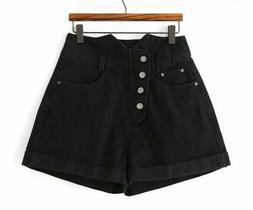 Crimping Denim Shorts For Women Black High Waist Vintage But