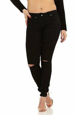 Cute Moto Ripped Knee Long Slim fit Skinny Stretch Jeans for