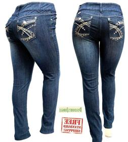 DARK BLUE HIGH WAIST WOMEN'S PLUS SIZE denim jeans SKINNY LE