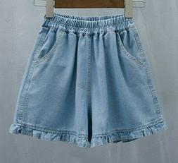 Denim Basic Short For Women Summer Wide Leg Plus Size Jeans