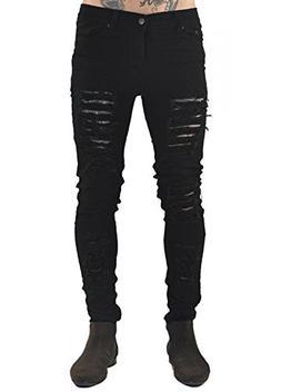 XARAZA Men's Distressed Ripped Slim Fit Jeans Skinny Denim P