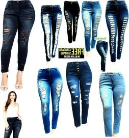 DM WOMENS PLUS SIZE BLUE Denim JEANS Stretch Skinny Ripped D