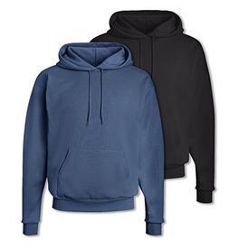 Hanes Mens EcoSmart Hooded Sweatshirt Small 1 Black + 1 Deni