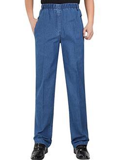 Zoulee Men's Full Elastic Waist Denim Pull On Jeans Straight