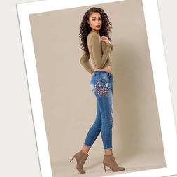 Embroidered Skinny Ankle Jeans With Frayed Hem
