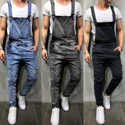 Fashion Men Denim Overalls Suspender Trousers Slim Fit Bib P