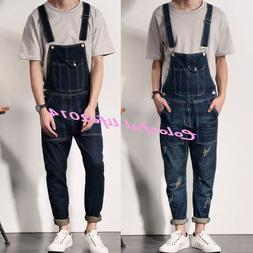 Fashion Men's Denim Overalls Suspender Trousers Slim Fit Bib