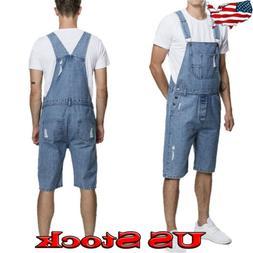 Fashion Summer Men's Denim Shorts Suspender Trousers Overall