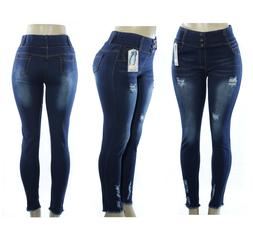 Fashion Women Blue Denim Stretch Distressed Skinny Jeggings