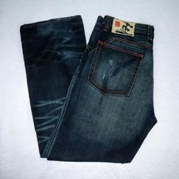 Five Points Mens 38x34 Jeans Embroidered Distressed Cherry B