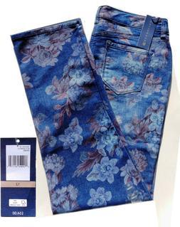 Floral Print Blue Jeans Size 10 12 14 Mandie Stretch Pefect