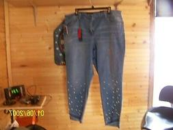 EARL JEAN FREE TO BE WOMAN PLUS SIZE BLUE JEANS PEARL STUDS