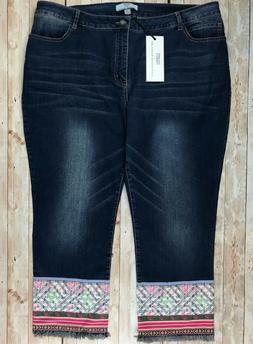 Hilary Radley Fringe Hem Cropped Jeans Dark Wash BLUE Southw