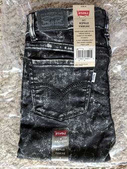 Girls Levi's 710 Super Skinny Stretch Jeans Marbled Black Si