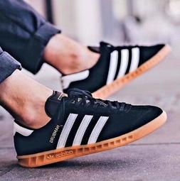 ADIDAS HAMBURG MENS BLACK LEATHER SUEDE SHOES JEANS CITY BER