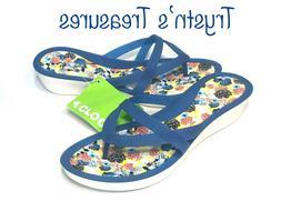 Crocs Isabella Print Wedge flip Sandal Blue Jean/Floral WOME