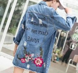 Jacket Floral Embroidery Long Spring Autumn Ripped Jeans Coa