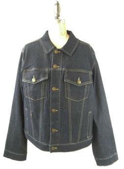 Woman Within Jean Jacket Size 14 14W Womens Dark Blue