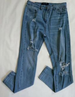 Wax Jeans Junior Wonens Distressed Hi Rise Skinny Crop Jeans