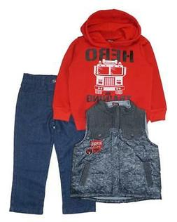 Arizona Jeans Toddler Boys Red & Black 3pc Denim Pant Set Si