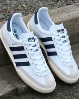 adidas Jeans Trainers in White & Navy - leather, thin gum so