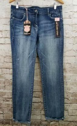 Wax Jean Juniors Ankle Jeans Blue Distressed Low Rise Size 1